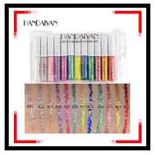 HANDAIYAN 12pcs Crystal Diamond Eyeliner Set