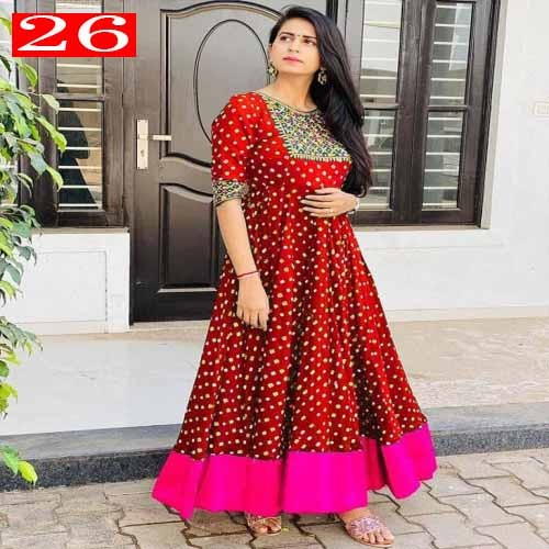 High Quality Italian Silk Fabric With Embroidery Work With Digital Printed Readymade Kurti for Women.26
