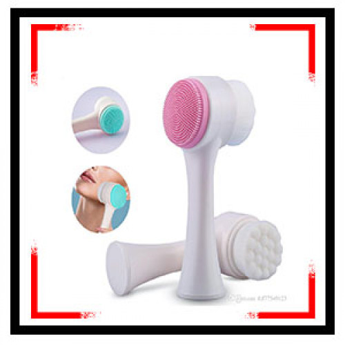 Face Brush, 2 Colors Double Sides Silicone Facial Pore Cleanser Manual Face Wash Cleansing Brush(White)