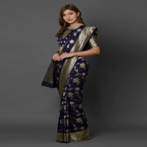 Latest Designed Luxury Exclusive Printed Silk Saree With Blouse Piece For Women-63
