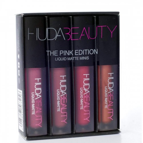 Huda beauty Mini liquid matte Red,Pink,Nude edition-4 pecs