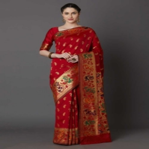 Latest Designed Luxury Exclusive Printed Silk Saree With Blouse Piece For Women-42