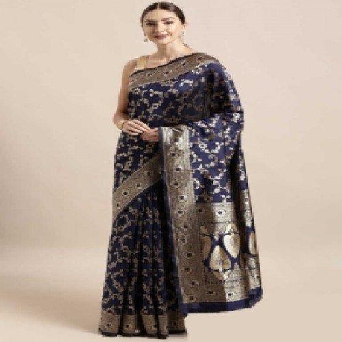 Latest Designed Luxury Exclusive Printed Silk Saree With Blouse Piece For Women-40