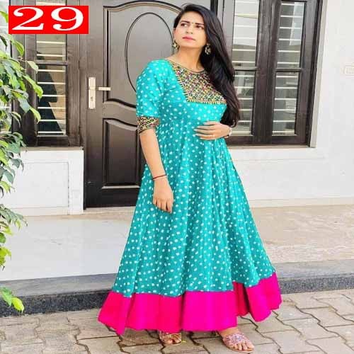 High Quality Italian Silk Fabric With Embroidery Work With Digital Printed Readymade Kurti for Women 29