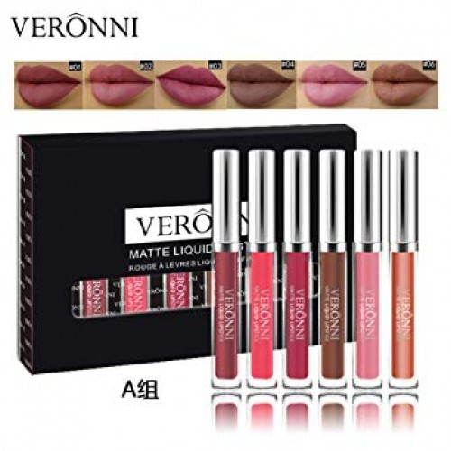 VERONNI Waterproof Matte Liquid Lipstick Set 6pcs