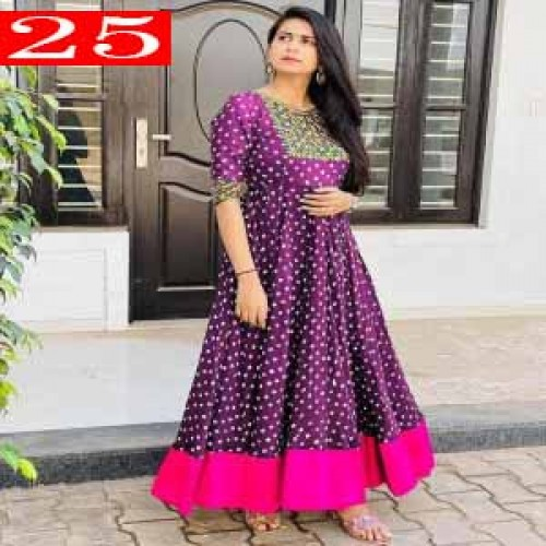 High Quality Italian Silk Fabric With Embroidery Work With Digital Printed Readymade Kurti for Women.25
