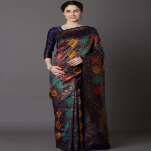 Latest Designed Luxury Exclusive Printed Silk Saree With Blouse Piece For Women-65