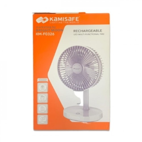 Kamisafe Rechargeable LED Multi-functional Fan - KM-F0326 - White