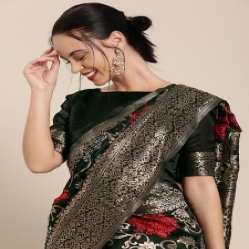 Latest Designed Luxury Exclusive Printed Silk Saree With Blouse Piece For Women-74