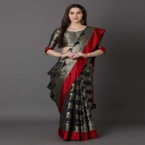 Latest Designed Luxury Exclusive Printed Silk Saree With Blouse Piece For Women-57