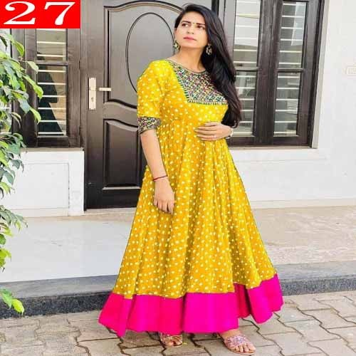 High Quality Italian Silk Fabric With Embroidery Work With Digital Printed Readymade Kurti for Women. 27