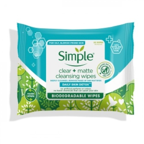 Simple Clear + Matte Cleansing Wipes