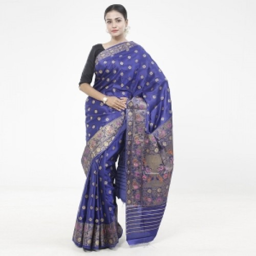 Latest Designed Luxury Exclusive Printed Silk Saree With Blouse Piece For Women-22