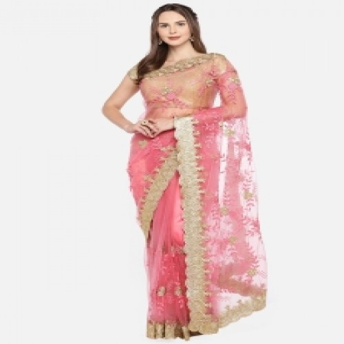 Exclusive & The Latest Design Pink Tissue Saree with Gorgeous Embroidery & Stone Work with Blouse Piece for Party, Occasion, weeding, Festival for Women-85