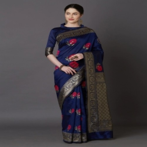 Latest Designed Luxury Exclusive Printed Silk Saree With Blouse Piece For Women-45