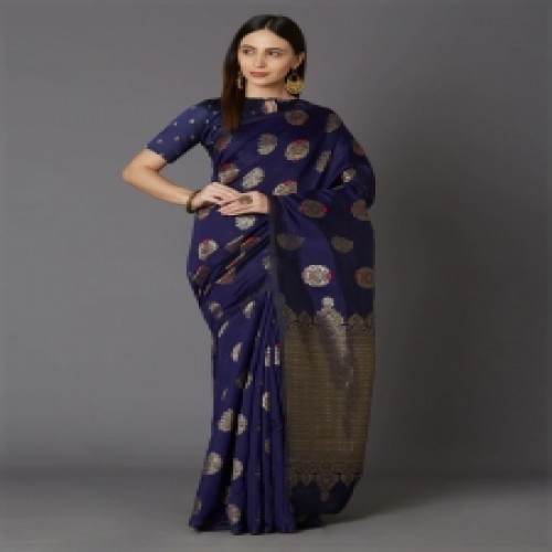 Latest Designed Luxury Exclusive Printed Silk Saree With Blouse Piece For Women-15