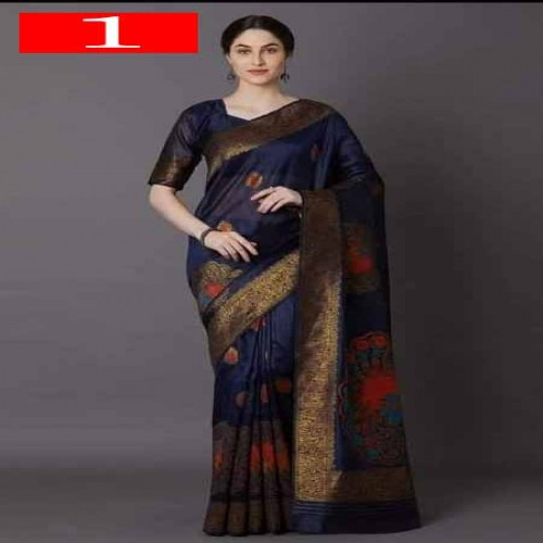 Latest Designed Luxury Exclusive Printed Silk Saree With Blouse Piece For Women-1