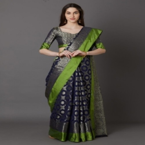 Latest Designed Luxury Exclusive Printed Silk Saree With Blouse Piece For Women-60
