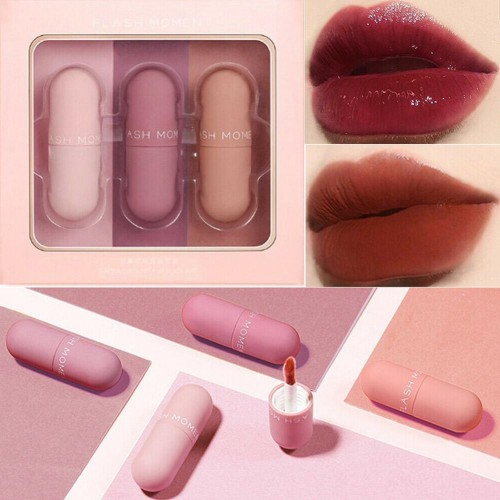 Flash Moment 3 Colors Matte Lipstick Set Waterproof Long Lasting pocket lipstick gift set