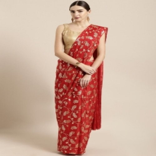 Latest Designed Luxury Exclusive Printed Silk Saree With Blouse Piece For Women-13