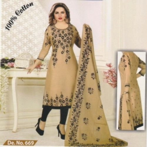 Unstitched Multicolor Pure Cotton Salwar Kameez for women-9
