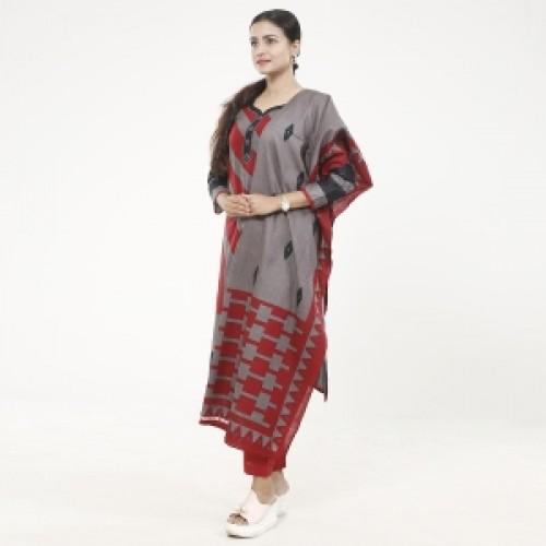 Unstitched Multicolor Pure Cotton Salwar Kameez for women-1
