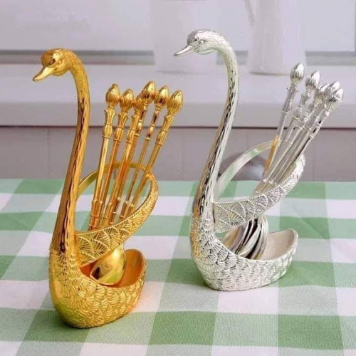 Swan spoon stand holder set