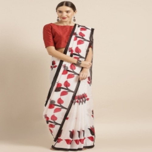 Latest Designed Luxury Exclusive Printed Silk Saree With Blouse Piece For Women-20