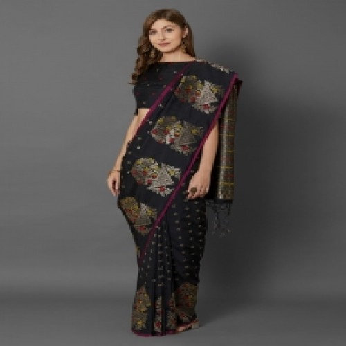Latest Designed Luxury Exclusive Printed Silk Saree With Blouse Piece For Women-48