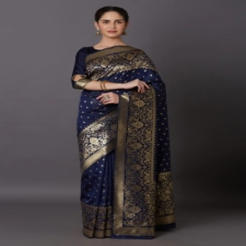 Latest Designed Luxury Exclusive Printed Silk Saree With Blouse Piece For Women-28