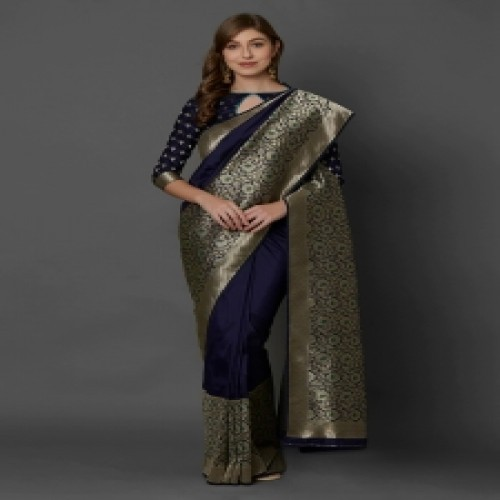 Latest Designed Luxury Exclusive Printed Silk Saree With Blouse Piece For Women-61
