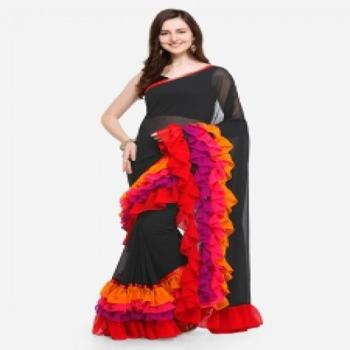 Indian Soft Weightless Georgette Saree With Matching Blouse Piece for Women-8