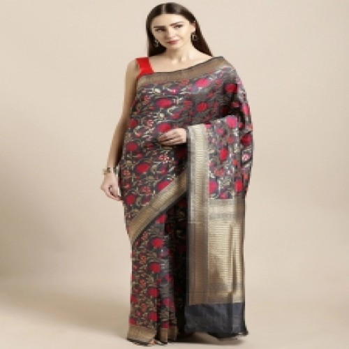 Latest Designed Luxury Exclusive Printed Silk Saree With Blouse Piece For Women-69
