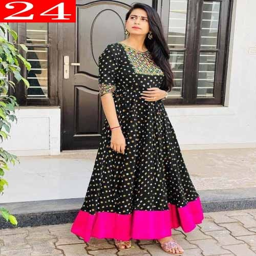 High Quality Italian Silk Fabric With Embroidery Work With Digital Printed Readymade Kurti for Women. 24
