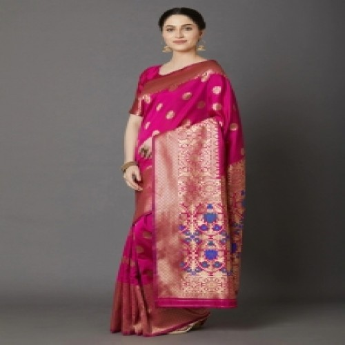 Latest Designed Luxury Exclusive Printed Silk Saree With Blouse Piece For Women-19