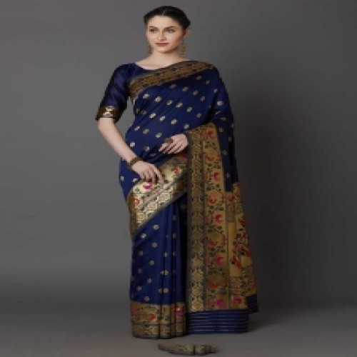 Latest Designed Luxury Exclusive Printed Silk Saree With Blouse Piece For Women-53